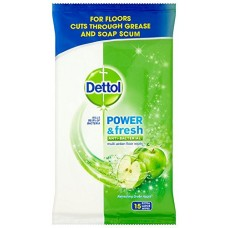 Dettol Complete Clean Anti-Bacterial Floor Wipes 15 Wipes - Extra Large, Green Apple, Pack of 3